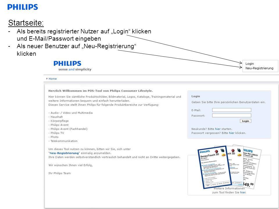 Startseite: -Als bereits registrierter Nutzer auf Login klicken und E-Mail/Passwort eingeben -Als neuer Benutzer auf Neu-Registrierung klicken