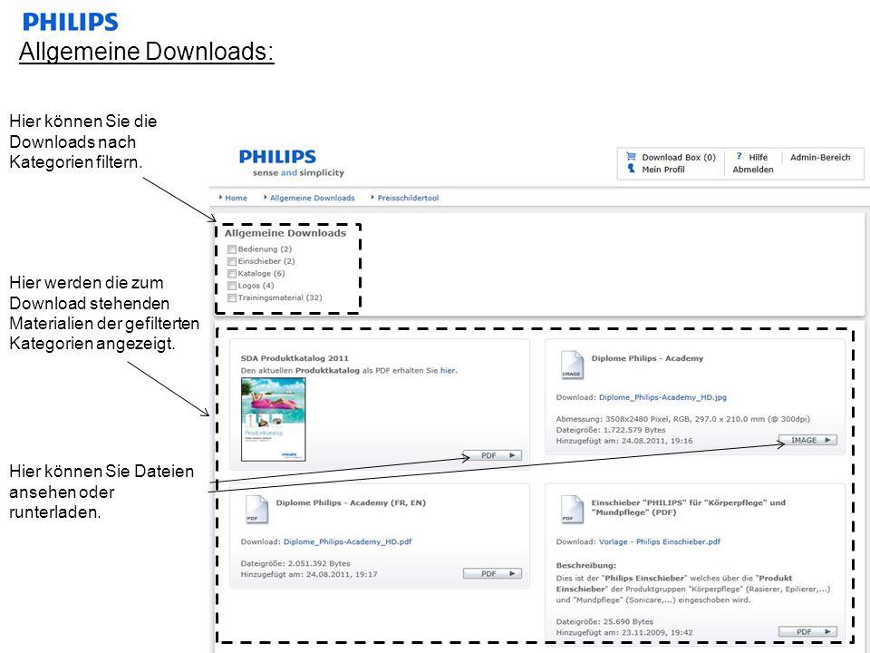 Allgemeine Downloads: Hier können Sie die Downloads nach Kategorien filtern. Hier werden die zum Download stehenden Materialien der gefilterten Katego