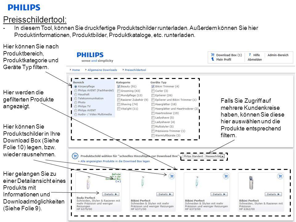 Produkt-Detailansicht: -Kopieren von Produktinformationen, runterladen von Bildern und sonstigen Downloads.