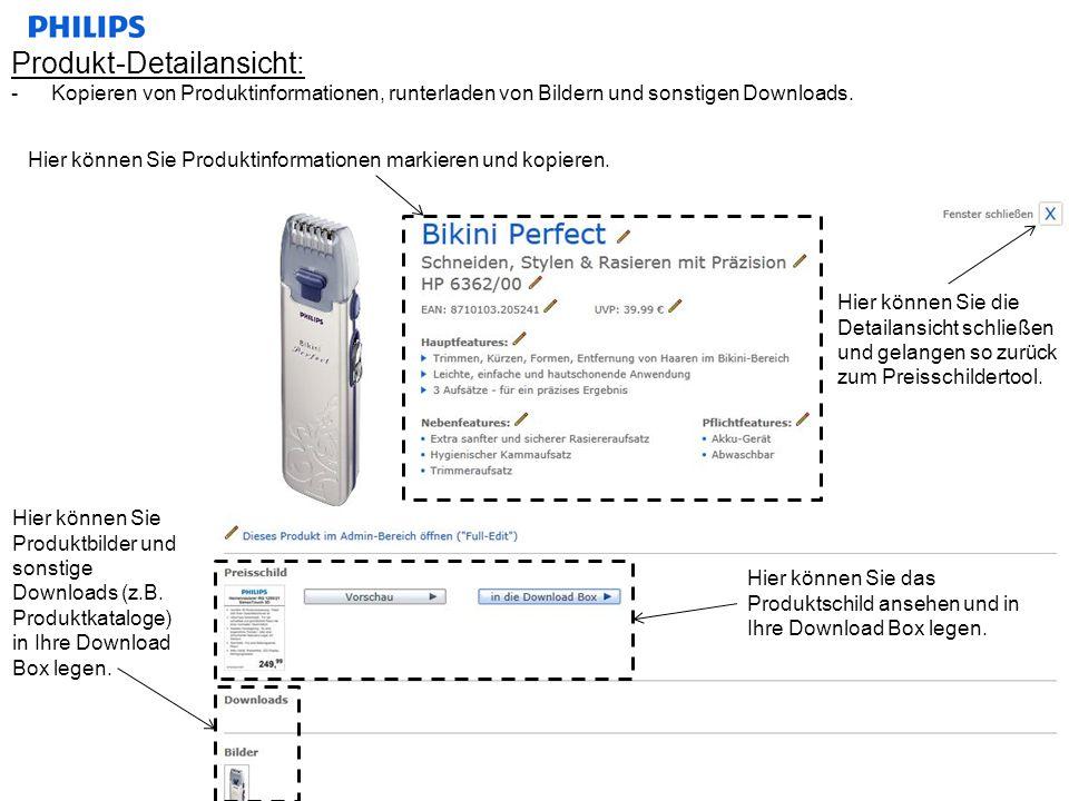 Produkt-Detailansicht: -Kopieren von Produktinformationen, runterladen von Bildern und sonstigen Downloads. Hier können Sie Produktinformationen marki