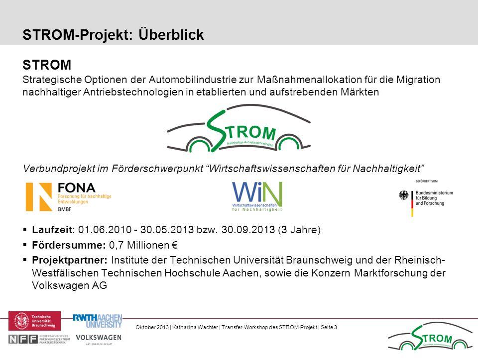 Oktober 2013 | Katharina Wachter | Transfer-Workshop des STROM-Projekt | Seite 3 STROM-Projekt: Überblick STROM Strategische Optionen der Automobilind