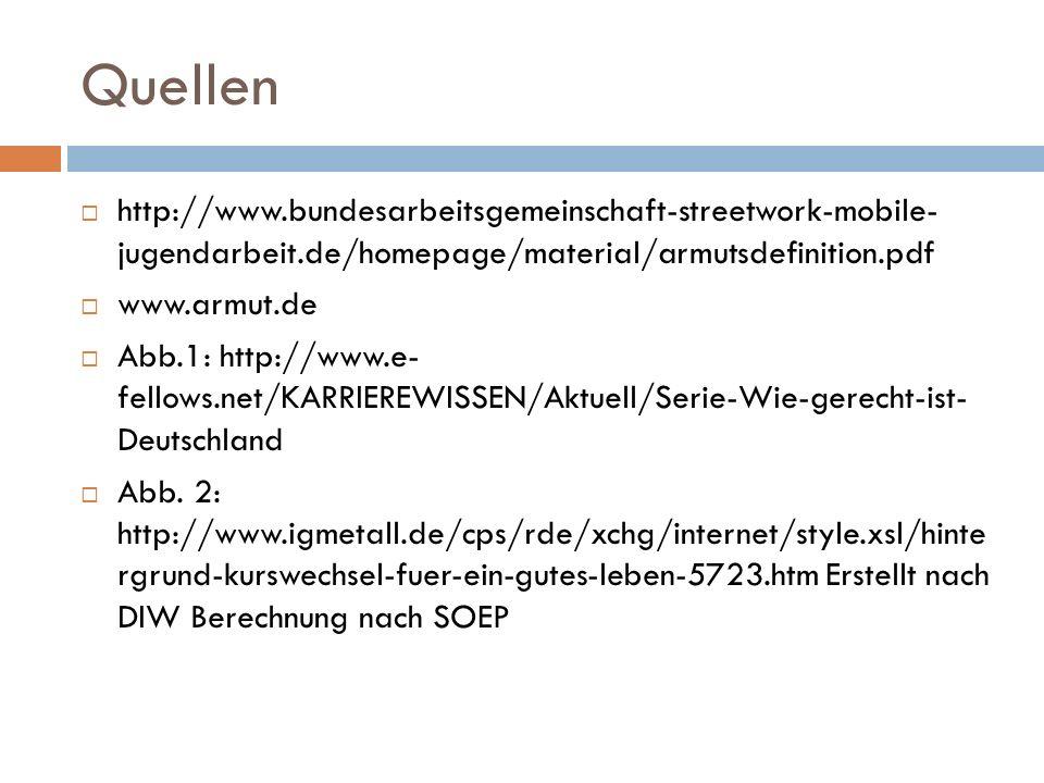 Quellen http://www.bundesarbeitsgemeinschaft-streetwork-mobile- jugendarbeit.de/homepage/material/armutsdefinition.pdf www.armut.de Abb.1: http://www.e- fellows.net/KARRIEREWISSEN/Aktuell/Serie-Wie-gerecht-ist- Deutschland Abb.