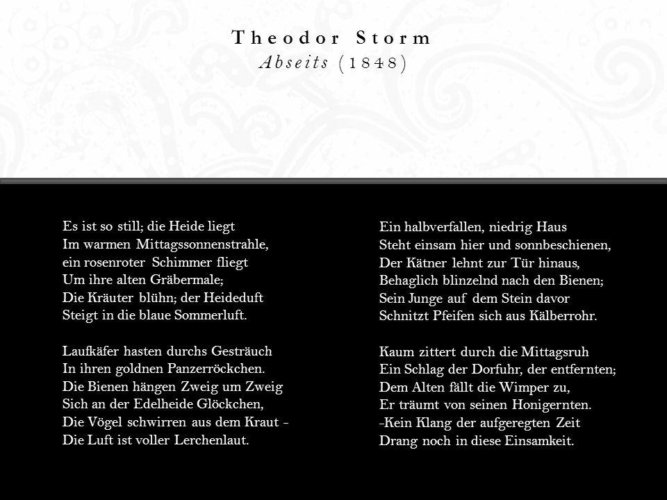 Theodor Storm Abseits (1848) Es ist so still; die Heide liegt Im warmen Mittagssonnenstrahle, ein rosenroter Schimmer fliegt Um ihre alten Gräbermale;
