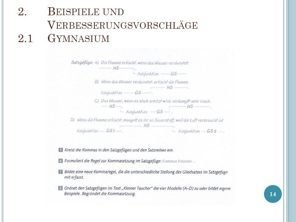 2. B EISPIELE UND V ERBESSERUNGSVORSCHLÄGE 2.1G YMNASIUM 14