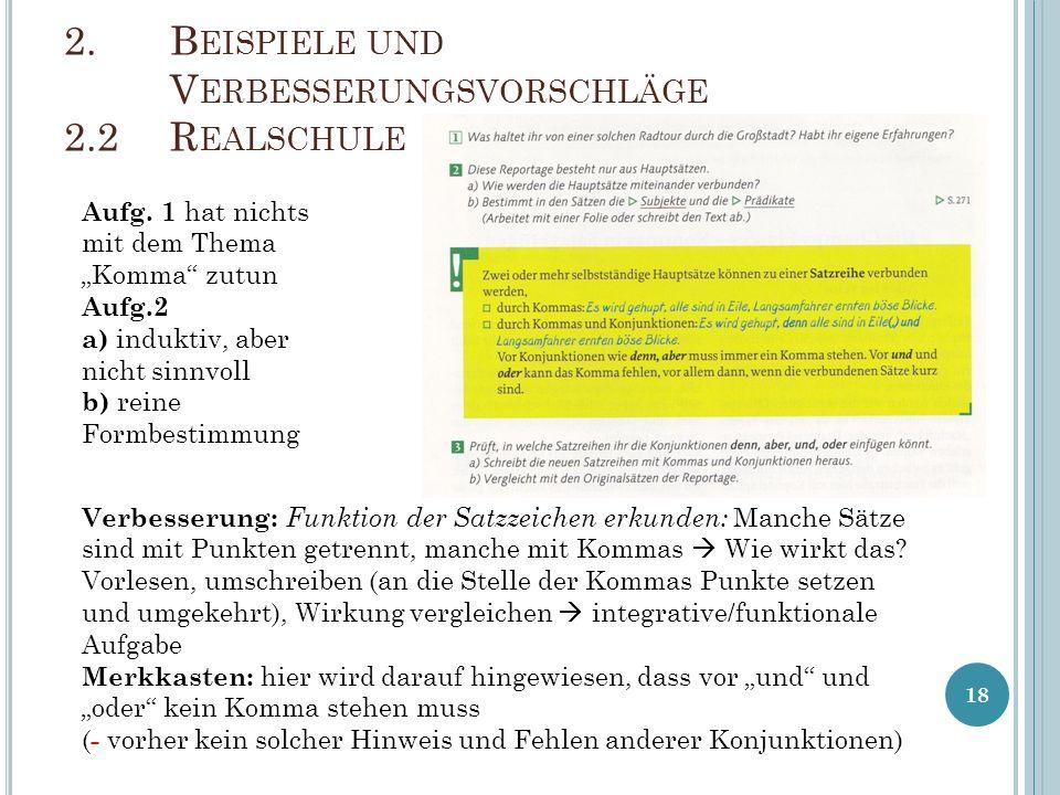 18 2.B EISPIELE UND V ERBESSERUNGSVORSCHLÄGE 2.2R EALSCHULE Aufg.