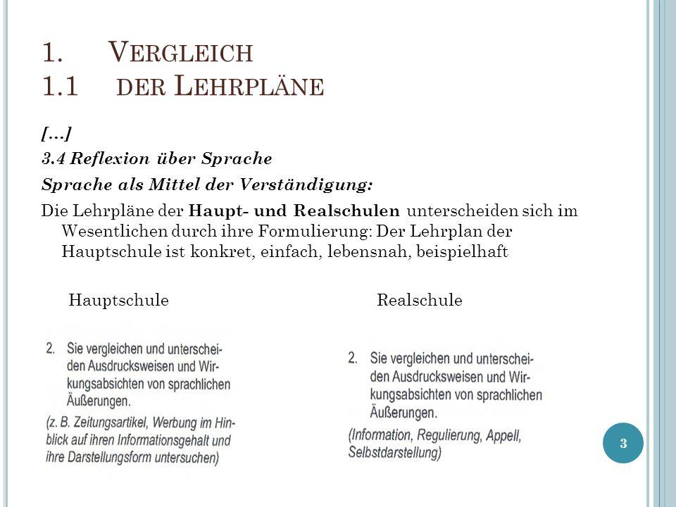1. V ERGLEICH 1.1 DER L EHRPLÄNE […] 3.4 Reflexion über Sprache Sprache als Mittel der Verständigung: Die Lehrpläne der Haupt- und Realschulen untersc