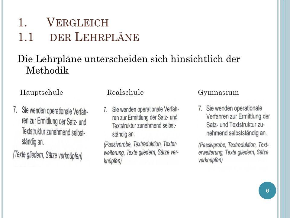 Die Lehrpläne unterscheiden sich hinsichtlich der Methodik 6 1.