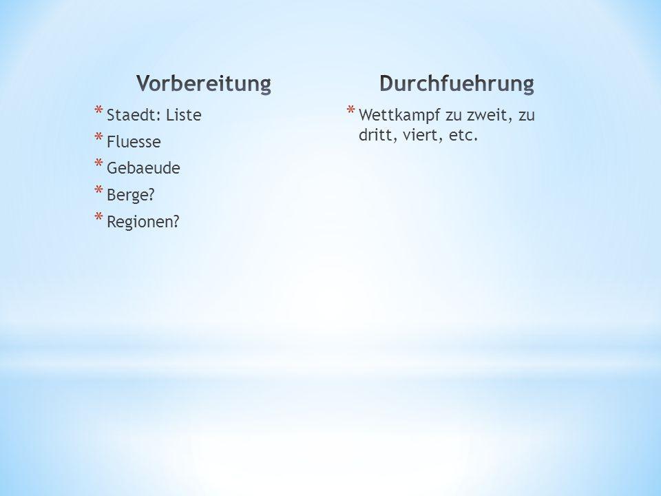 * 4.Deutscher Film * 5. Deutsche Stadt als Ausgangspunkt * 6.