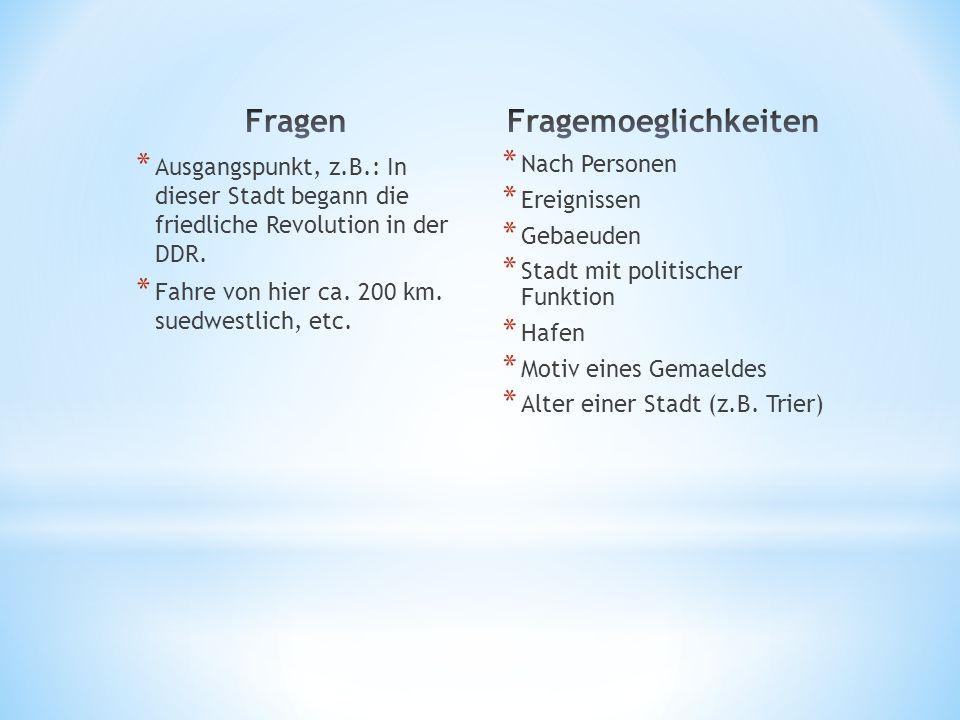 * Ausgangspunkt, z.B.: In dieser Stadt begann die friedliche Revolution in der DDR. * Fahre von hier ca. 200 km. suedwestlich, etc. * Nach Personen *
