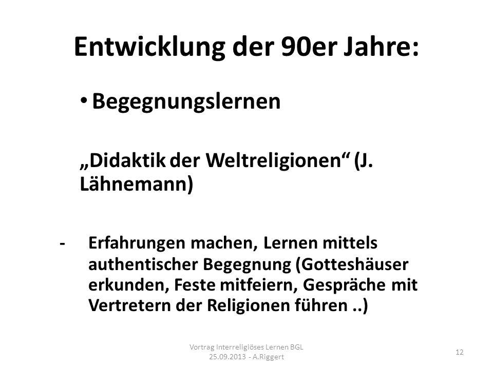 Entwicklung der 90er Jahre: Begegnungslernen Didaktik der Weltreligionen (J.
