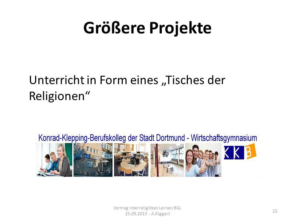 Größere Projekte Unterricht in Form eines Tisches der Religionen Vortrag Interreligiöses Lernen BGL 25.09.2013 - A.Riggert 22