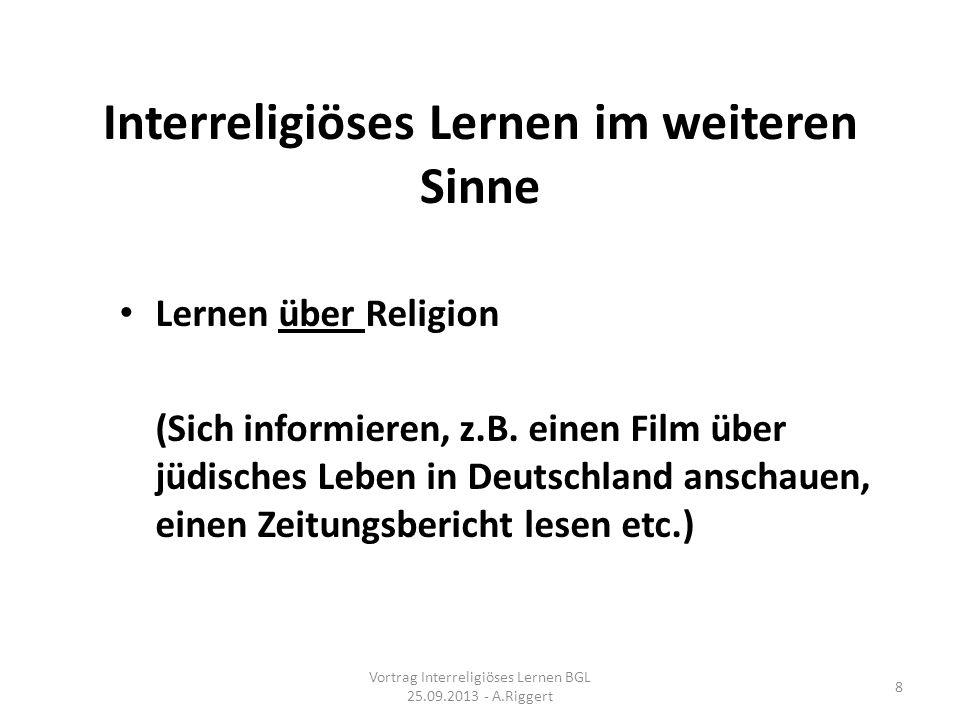 Interreligiöses Lernen im weiteren Sinne Lernen über Religion (Sich informieren, z.B.
