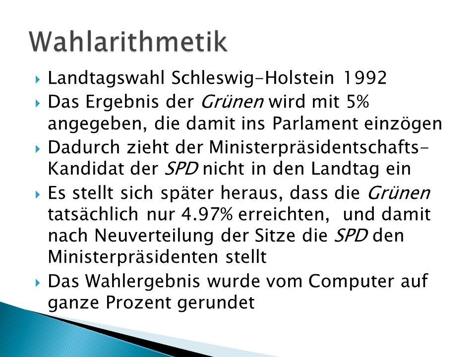 Landtagswahl Schleswig-Holstein 1992 Das Ergebnis der Grünen wird mit 5% angegeben, die damit ins Parlament einzögen Dadurch zieht der Ministerpräsidentschafts- Kandidat der SPD nicht in den Landtag ein Es stellt sich später heraus, dass die Grünen tatsächlich nur 4.97% erreichten, und damit nach Neuverteilung der Sitze die SPD den Ministerpräsidenten stellt Das Wahlergebnis wurde vom Computer auf ganze Prozent gerundet