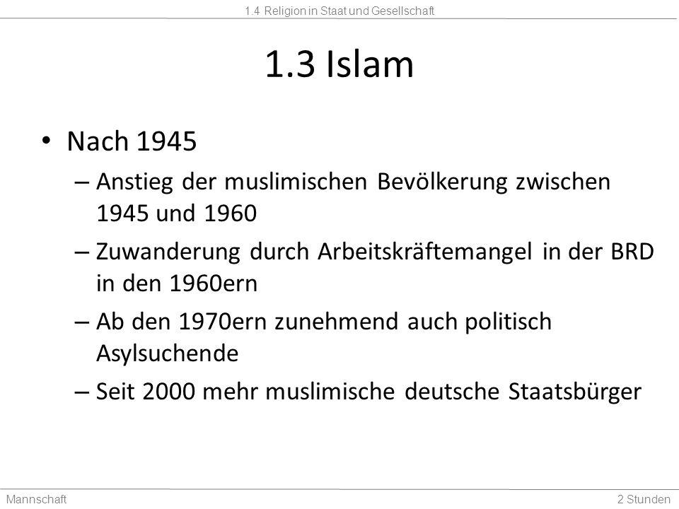 1.4 Religion in Staat und Gesellschaft Mannschaft2 Stunden 1.3 Islam Nach 1945 – Anstieg der muslimischen Bevölkerung zwischen 1945 und 1960 – Zuwande