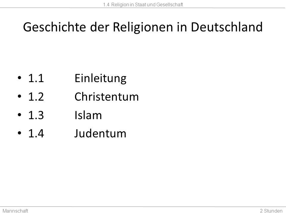 1.4 Religion in Staat und Gesellschaft Mannschaft2 Stunden 1.1 Einleitung