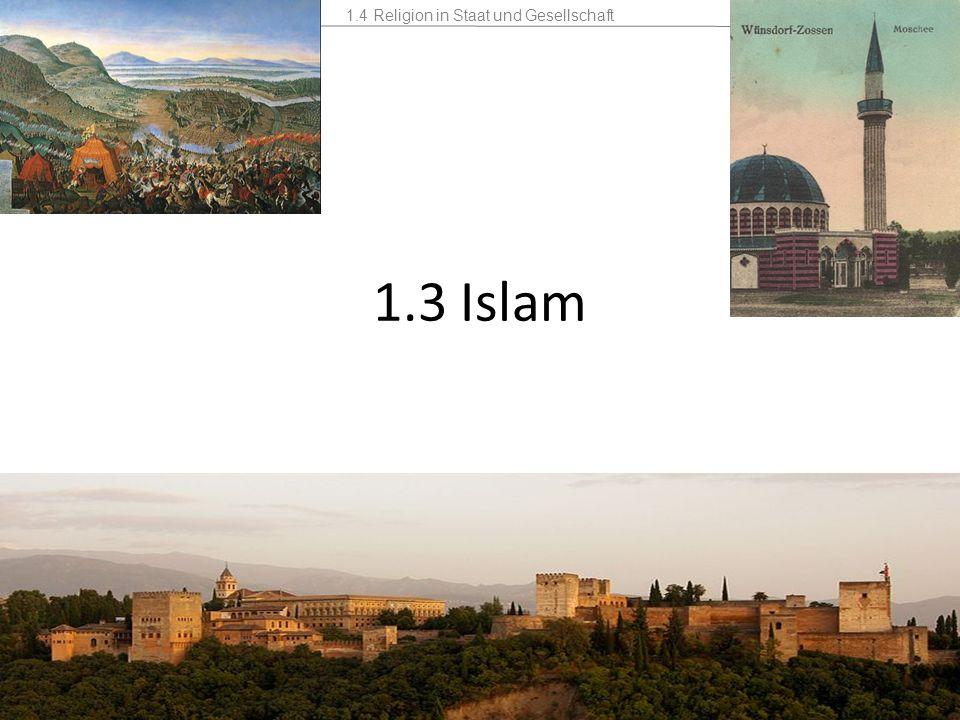 1.4 Religion in Staat und Gesellschaft Mannschaft2 Stunden 1.3 Islam Kontakte mit dem Islam schon im Mittelalter – gefördert durch Außenpolitik und Handel – Spanien war unter muslimischer Herrschaft In Deutschland keine religiösen Niederlassungen des Islam