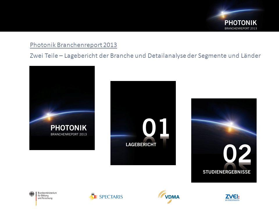 Photonik Branchenreport 2013 Zwei Teile – Lagebericht der Branche und Detailanalyse der Segmente und Länder