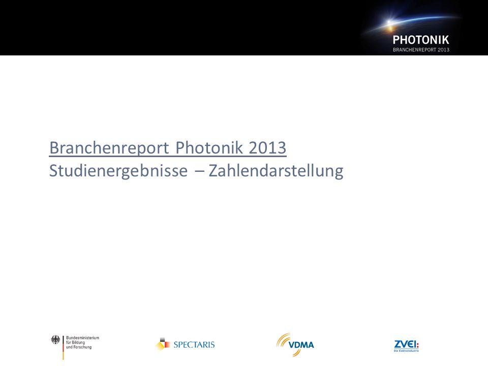 Branchenreport Photonik 2013 Studienergebnisse – Zahlendarstellung