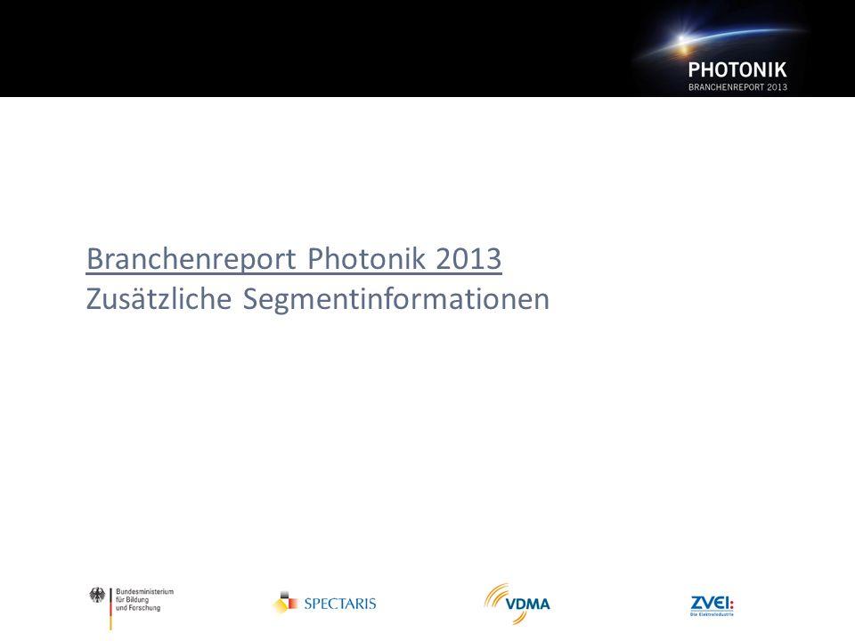 Branchenreport Photonik 2013 Zusätzliche Segmentinformationen