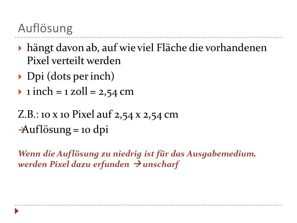 Auflösung hängt davon ab, auf wie viel Fläche die vorhandenen Pixel verteilt werden Dpi (dots per inch) 1 inch = 1 zoll = 2,54 cm Z.B.: 10 x 10 Pixel