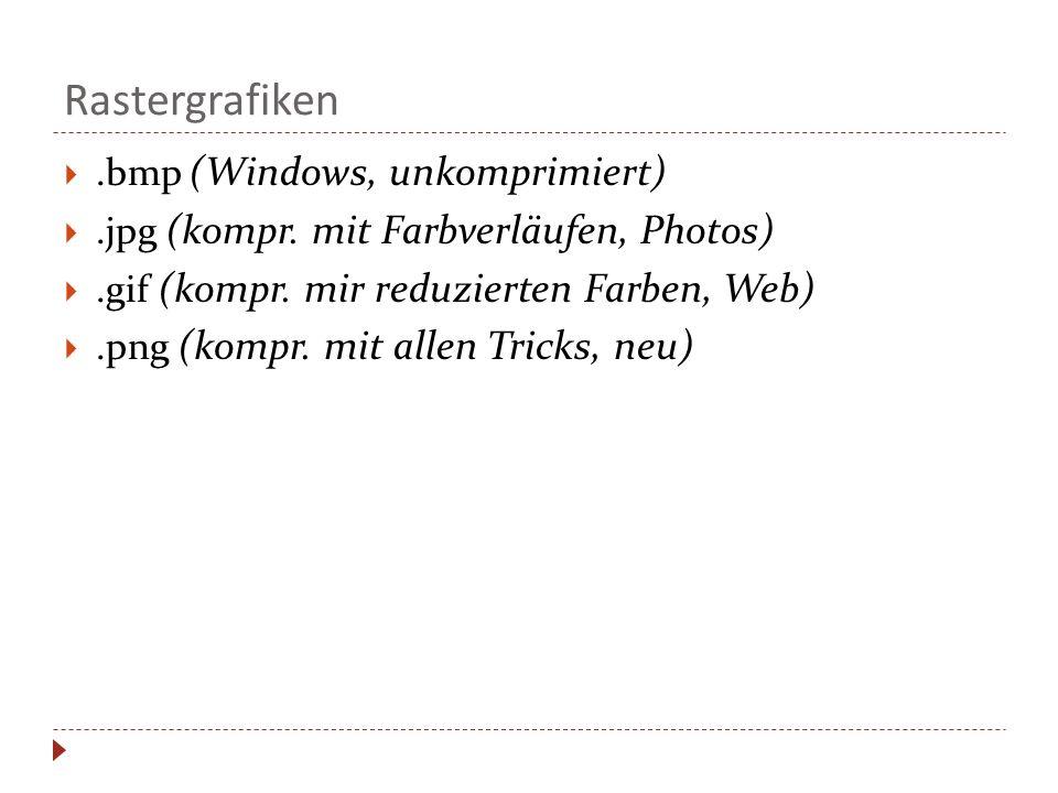 Rastergrafiken.bmp (Windows, unkomprimiert).jpg (kompr. mit Farbverläufen, Photos).gif (kompr. mir reduzierten Farben, Web).png (kompr. mit allen Tric