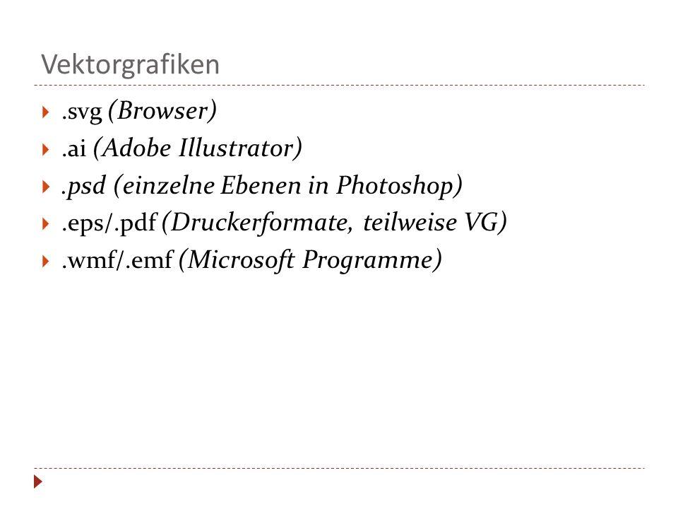 Vektorgrafiken.svg (Browser).ai (Adobe Illustrator).psd (einzelne Ebenen in Photoshop).eps/.pdf (Druckerformate, teilweise VG).wmf/.emf (Microsoft Pro