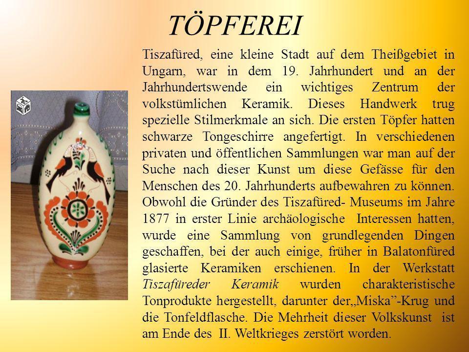 TÖPFEREI Tiszafüred, eine kleine Stadt auf dem Theißgebiet in Ungarn, war in dem 19. Jahrhundert und an der Jahrhundertswende ein wichtiges Zentrum de