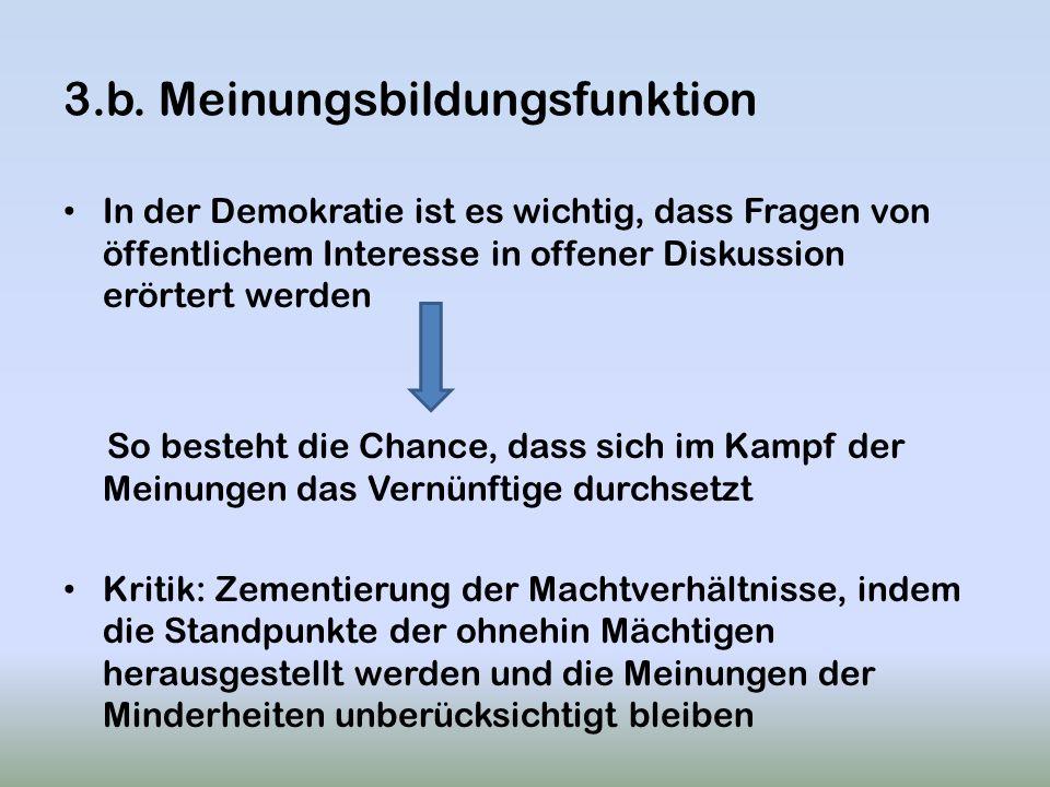 3.b. Meinungsbildungsfunktion In der Demokratie ist es wichtig, dass Fragen von öffentlichem Interesse in offener Diskussion erörtert werden So besteh