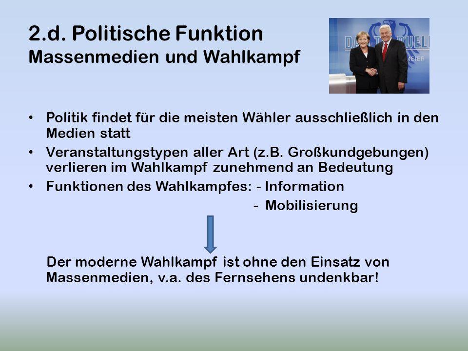 2.d. Politische Funktion Massenmedien und Wahlkampf Politik findet für die meisten Wähler ausschließlich in den Medien statt Veranstaltungstypen aller