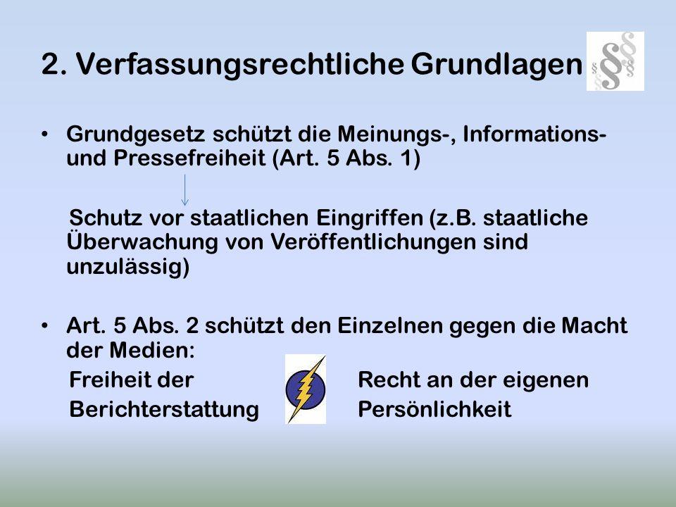 2. Verfassungsrechtliche Grundlagen Grundgesetz schützt die Meinungs-, Informations- und Pressefreiheit (Art. 5 Abs. 1) Schutz vor staatlichen Eingrif
