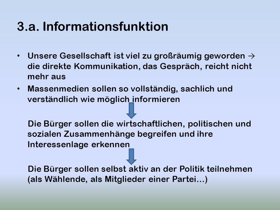 3.a. Informationsfunktion Unsere Gesellschaft ist viel zu großräumig geworden die direkte Kommunikation, das Gespräch, reicht nicht mehr aus Massenmed