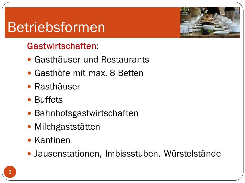 Betriebsformen Schankwirtschaften: Bier- und Weinausschankbetriebe Branntweinschenken Sonstige Schankwirtschaften Kaffeehaus: Kaffeehäuser Café-Restaurants Espressi Café-Konditorei 3