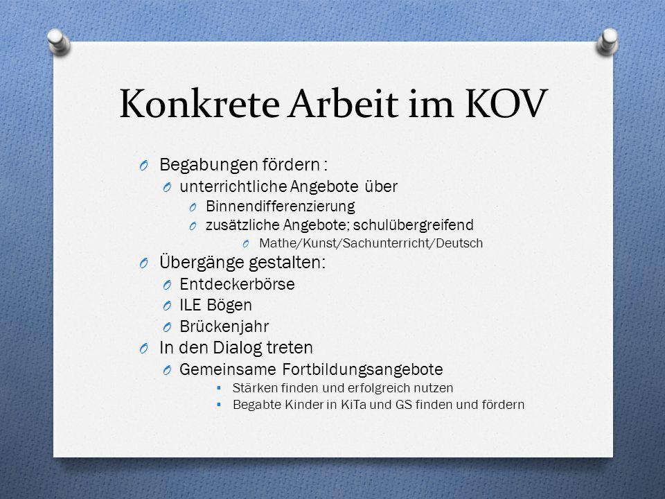 Konkrete Arbeit im KOV O Begabungen fördern : O unterrichtliche Angebote über O Binnendifferenzierung O zusätzliche Angebote; schulübergreifend O Math
