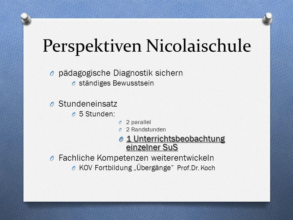 Perspektiven Nicolaischule O pädagogische Diagnostik sichern O ständiges Bewusstsein O Stundeneinsatz O 5 Stunden: O 2 parallel O 2 Randstunden O 1 Un