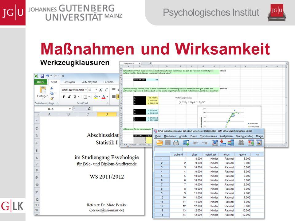 Psychologisches Institut Maßnahmen und Wirksamkeit Werkzeugklausuren