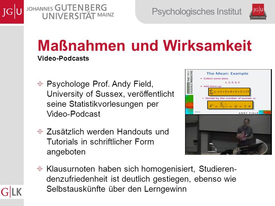 Psychologisches Institut Maßnahmen und Wirksamkeit Video-Podcasts Psychologe Prof.