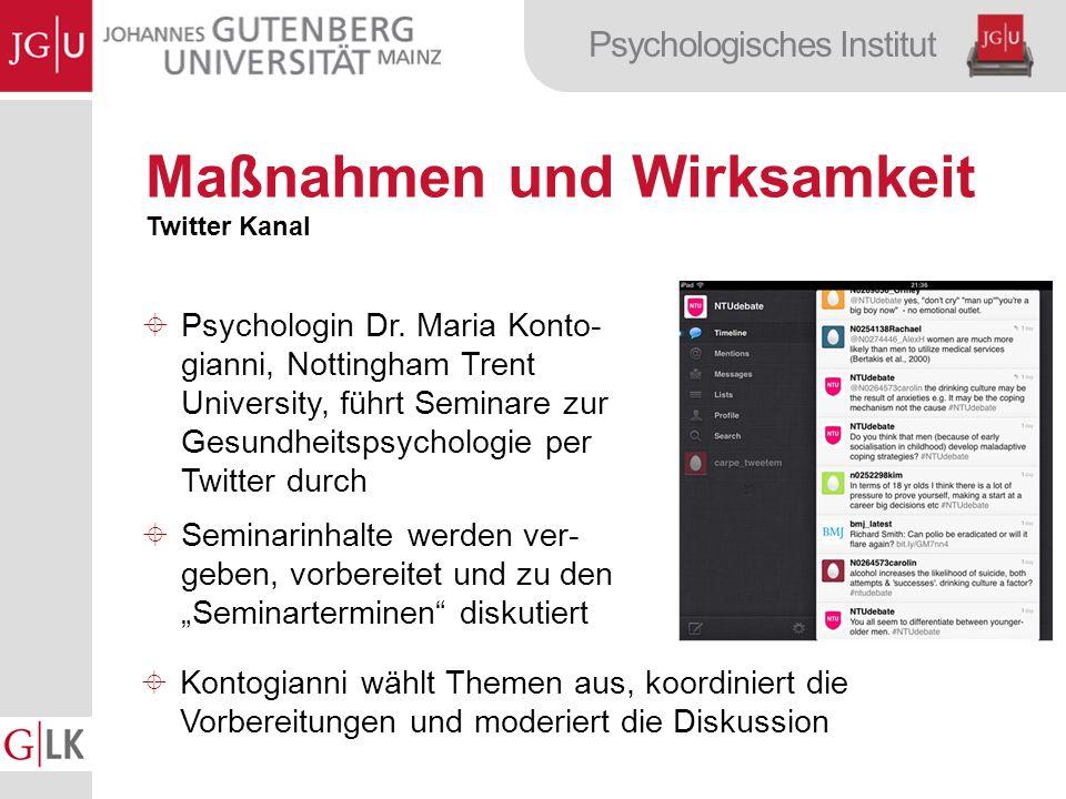 Psychologisches Institut Maßnahmen und Wirksamkeit Twitter Kanal Psychologin Dr.