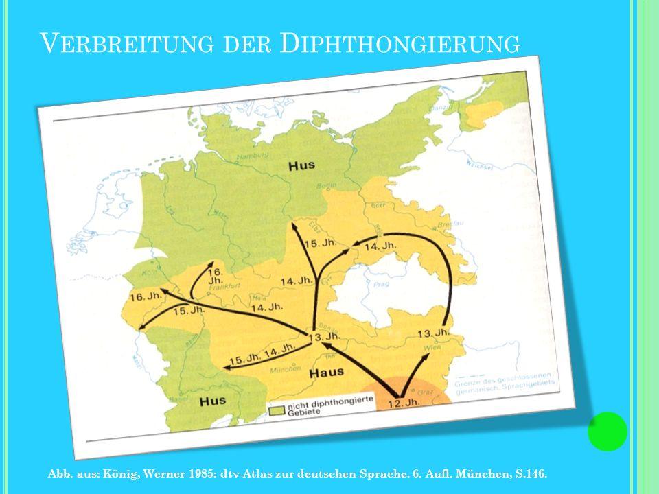 D IPHTHONGIERUNG Regel: Die mhd. Monophthonge /i:,ü:,u:/ werden zu den nhd. Diphthongen /ae,oi,ao/. Schreibweise: î > ei iu > eu/äu û > au Ausnahme: I