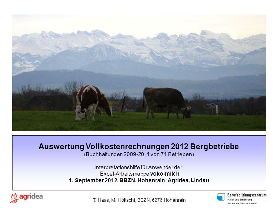 Auswertung Vollkostenrechnungen 2012 Bergbetriebe (Buchhaltungen 2009-2011 von 71 Betrieben) Interpretationshilfe für Anwender der Excel-Arbeitsmappe