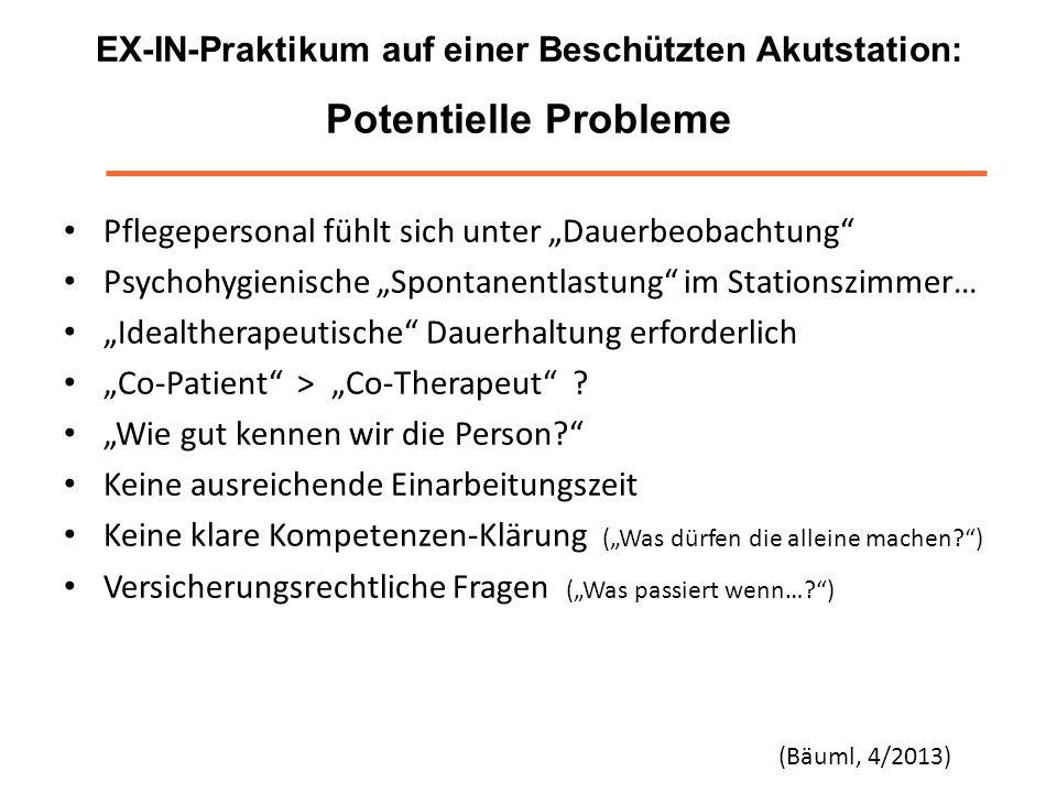 EX-IN-Praktikum auf einer Beschützten Akutstation: Potentielle Probleme Pflegepersonal fühlt sich unter Dauerbeobachtung Psychohygienische Spontanentl