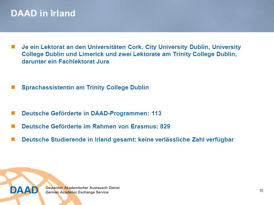DAAD in Irland 10 Je ein Lektorat an den Universitäten Cork, City University Dublin, University College Dublin und Limerick und zwei Lektorate am Trin