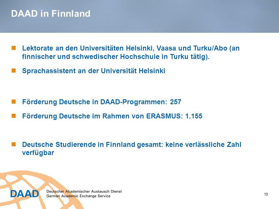 DAAD in Finnland 19 Lektorate an den Universitäten Helsinki, Vaasa und Turku/Abo (an finnischer und schwedischer Hochschule in Turku tätig). Sprachass