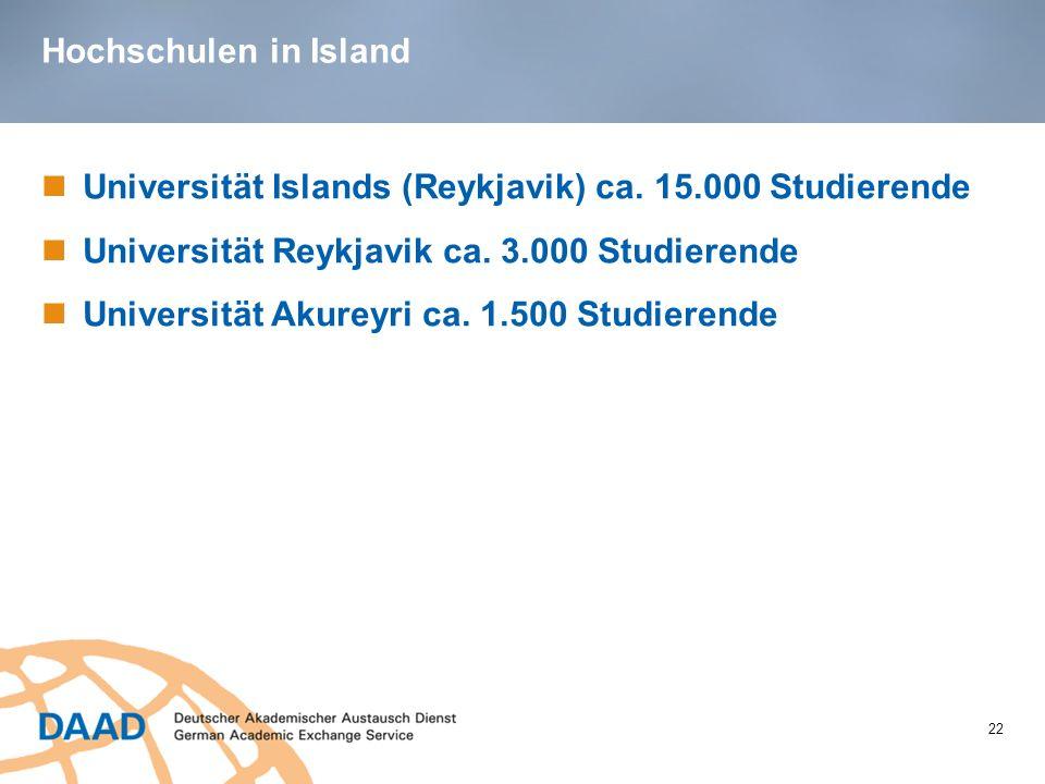 Hochschulen in Island 22 Universität Islands (Reykjavik) ca. 15.000 Studierende Universität Reykjavik ca. 3.000 Studierende Universität Akureyri ca. 1