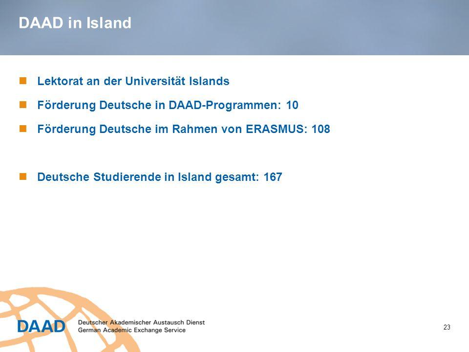DAAD in Island 23 Lektorat an der Universität Islands Förderung Deutsche in DAAD-Programmen: 10 Förderung Deutsche im Rahmen von ERASMUS: 108 Deutsche