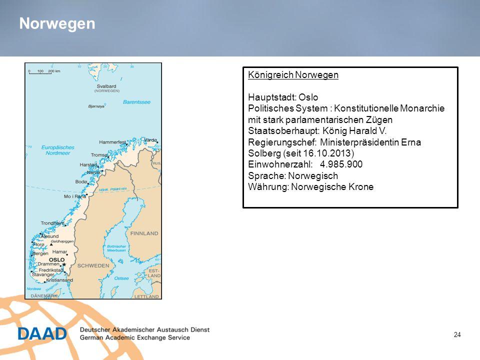 Norwegen 24 Königreich Norwegen Hauptstadt: Oslo Politisches System : Konstitutionelle Monarchie mit stark parlamentarischen Zügen Staatsoberhaupt: Kö