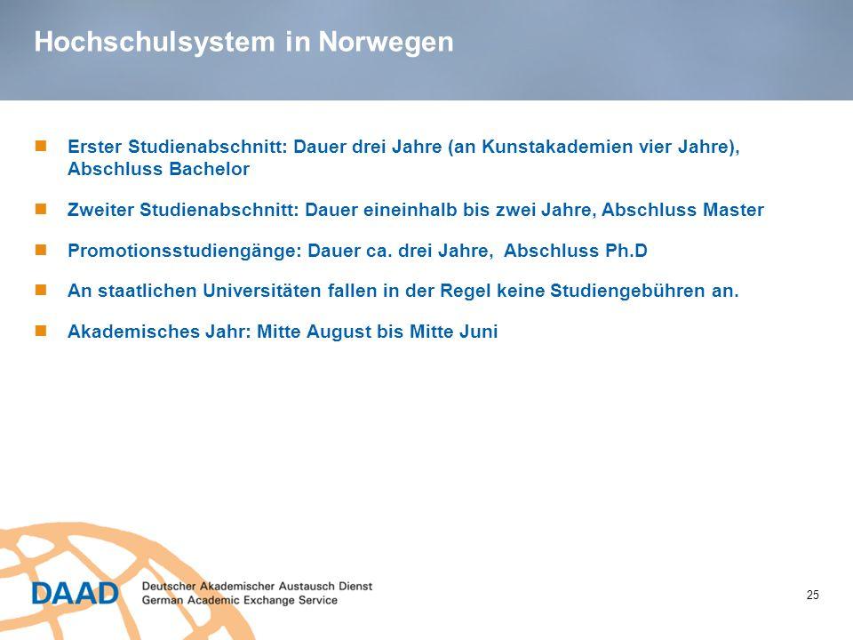 Hochschulsystem in Norwegen 25 Erster Studienabschnitt: Dauer drei Jahre (an Kunstakademien vier Jahre), Abschluss Bachelor Zweiter Studienabschnitt: