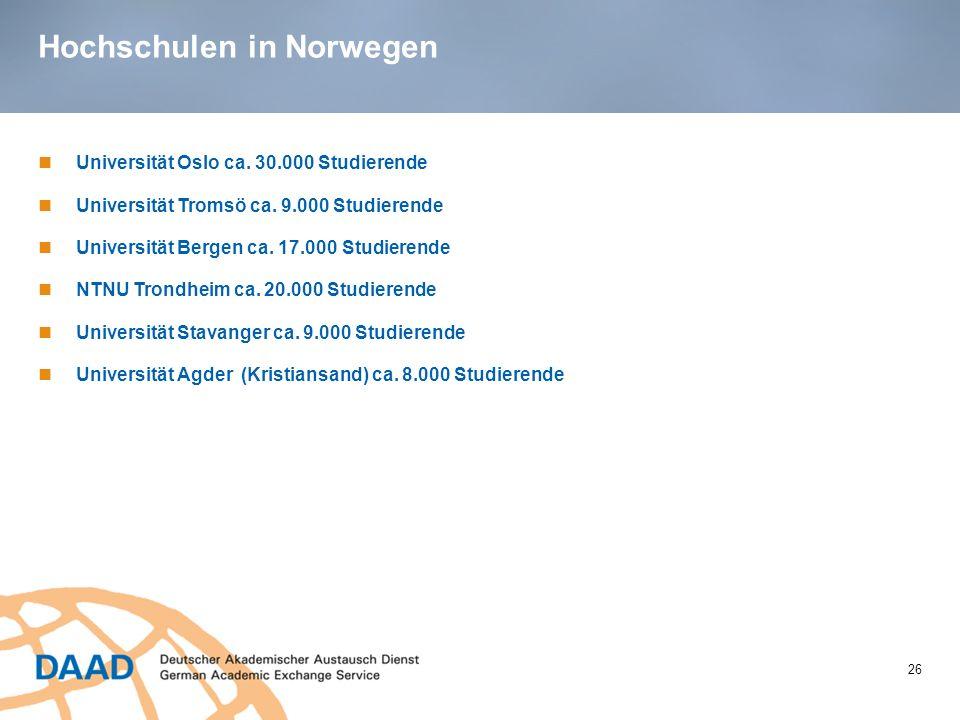 Hochschulen in Norwegen 26 Universität Oslo ca. 30.000 Studierende Universität Tromsö ca. 9.000 Studierende Universität Bergen ca. 17.000 Studierende