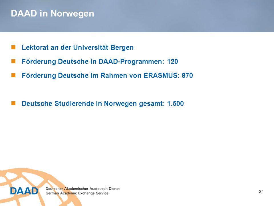 DAAD in Norwegen 27 Lektorat an der Universität Bergen Förderung Deutsche in DAAD-Programmen: 120 Förderung Deutsche im Rahmen von ERASMUS: 970 Deutsc
