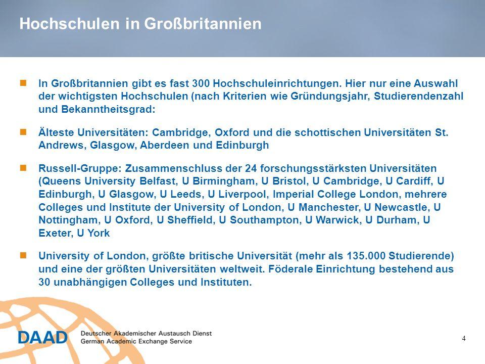 Hochschulen in Großbritannien 4 In Großbritannien gibt es fast 300 Hochschuleinrichtungen. Hier nur eine Auswahl der wichtigsten Hochschulen (nach Kri
