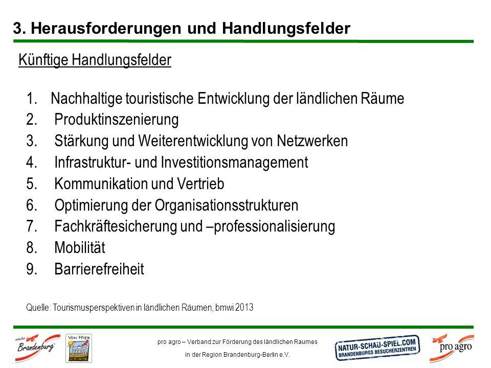 pro agro – Verband zur Förderung des ländlichen Raumes in der Region Brandenburg-Berlin e.V. Quelle: Tourismusperspektiven in ländlichen Räumen, bmwi
